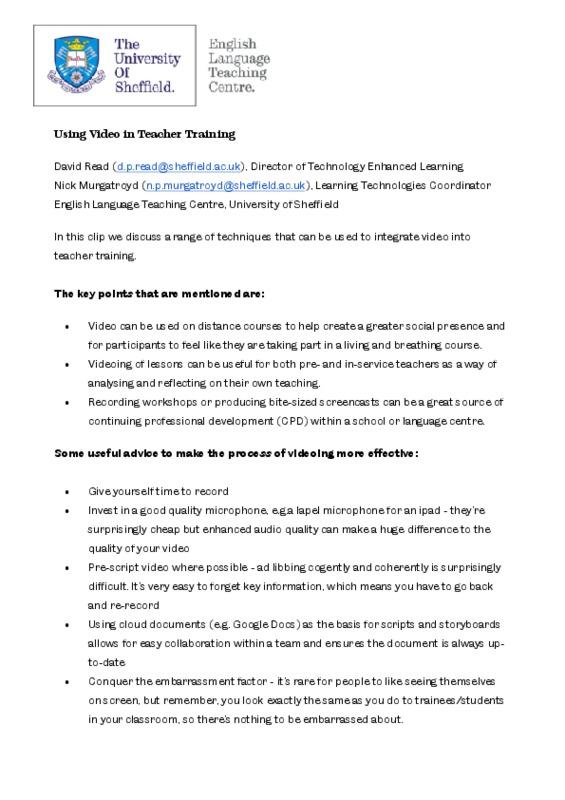 Using video in teacher training - video info doc.pdf